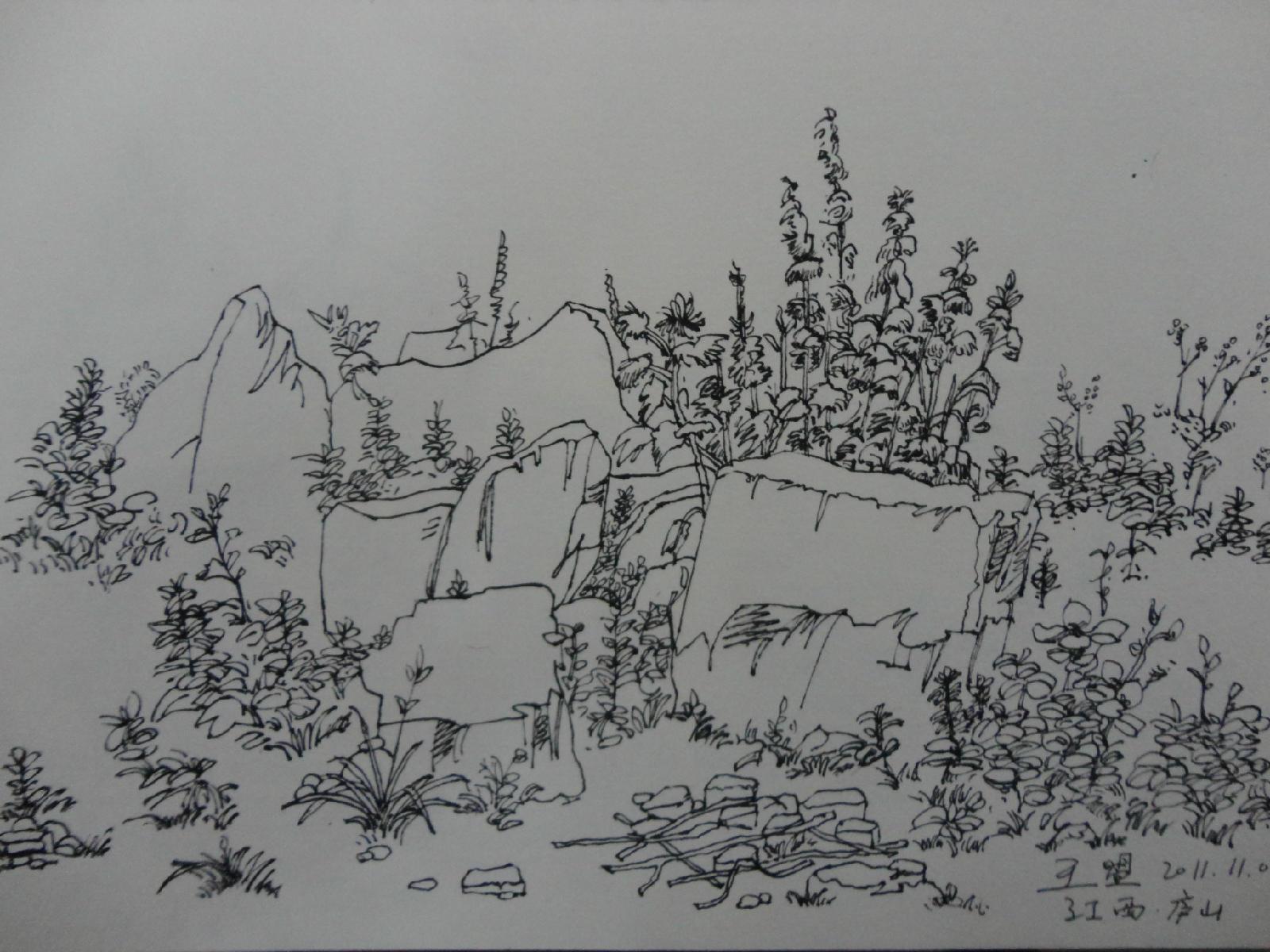 树木风景速写 超简单风景速写临摹 简单风景速写图片