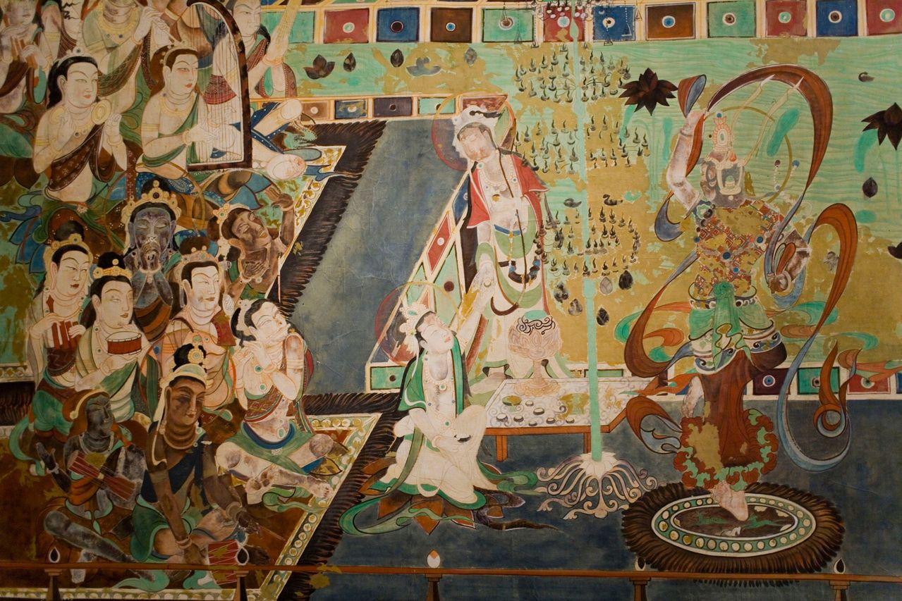 敦煌莫高窟壁画 (11张)  建筑画,山水画,花卉图案,飞天佛像以及当时图片