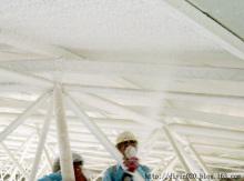 无机纤维喷涂现场施工中