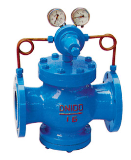 直动式减压阀  压力为p1的压缩空气,由左端输入经阀口10节流后,压力图片