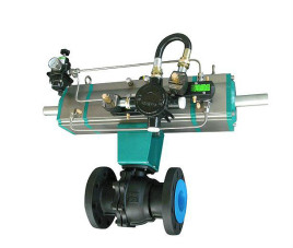 由两段式气动执行器和球阀或蝶阀组成,通过改变附加气缸的活塞行程图片