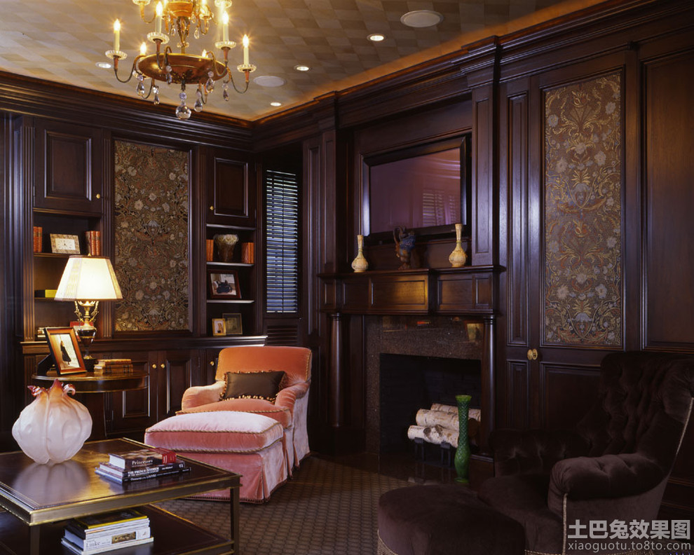 美式风格客厅护墙板效果图图片