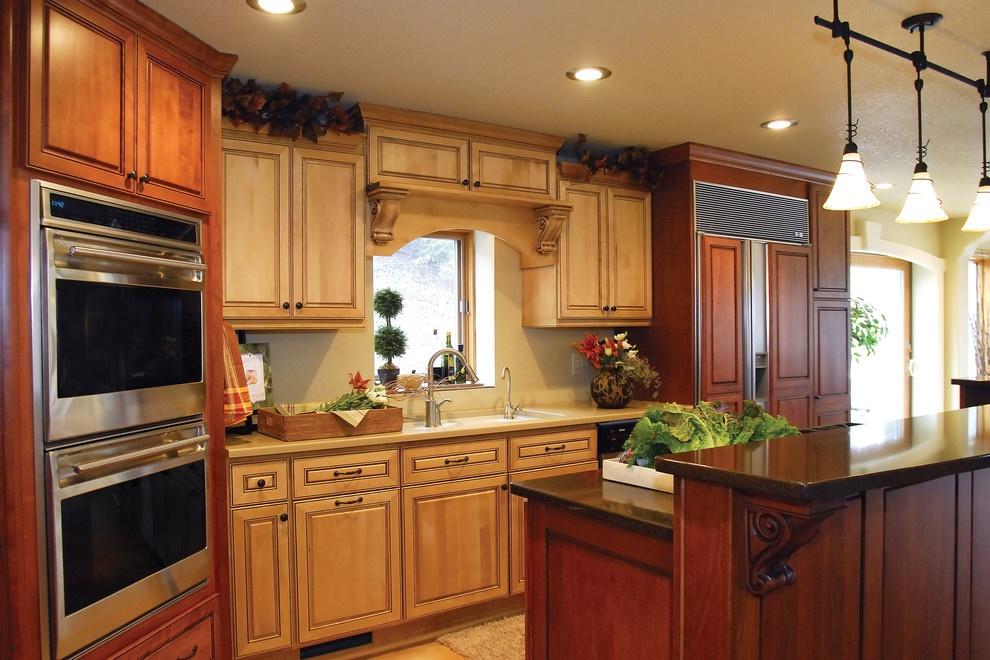 美式乡村别墅开放式厨房整体实木橱柜装修效果图大全图片