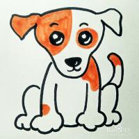 可爱的小狗用简笔画也是很好画的,最后用一点点颜色点缀一下,很快就出