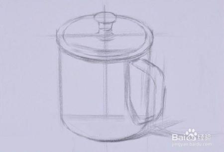 素描不锈钢杯子的画法 图文图片