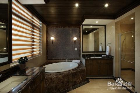 别墅浴室灯具,天花筒灯照明,墙上装饰性云石壁灯图片