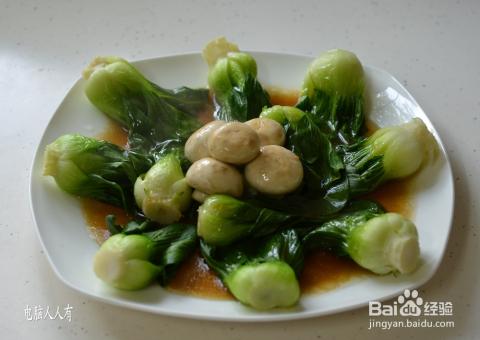 系列美食:[21]青菜炒蘑菇_素菜图片