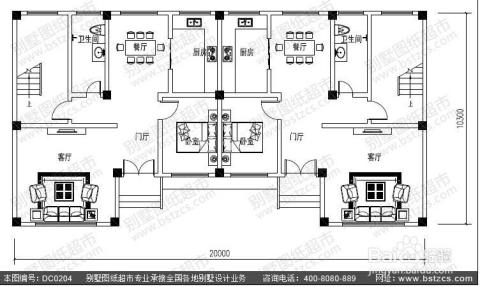 二层框架式双拼别墅设计图效果图图片