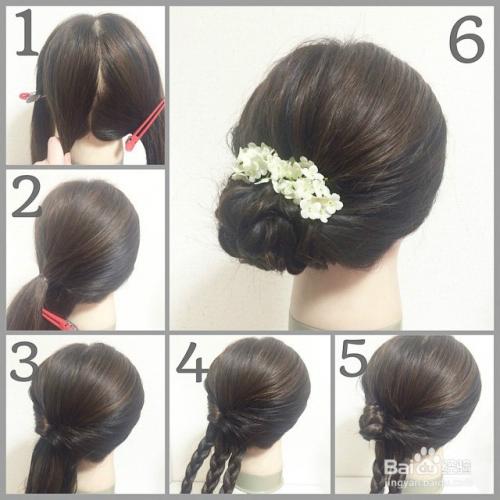 9种3分钟职场约会汉服和服晚宴女神编发盘发发型图片