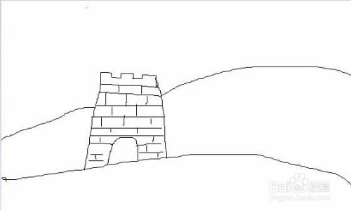 烈日下的长城手绘画法图片