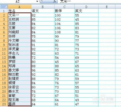 格学生姓名列按字母及笔画排序