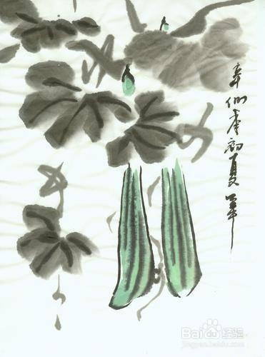 com 方法/步骤 1   丝瓜的写意画法第一步是构图定位,也就是指中国画图片