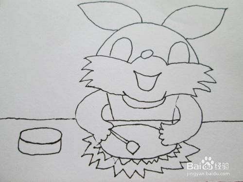 黑白线描画《小兔子炒菜》图片