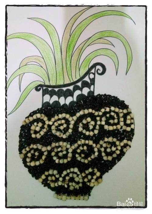 怎样用五谷杂粮做粘贴画之小清新花瓶图片