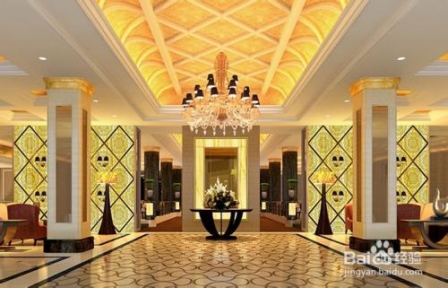 欧式餐厅大堂灯具布置图片