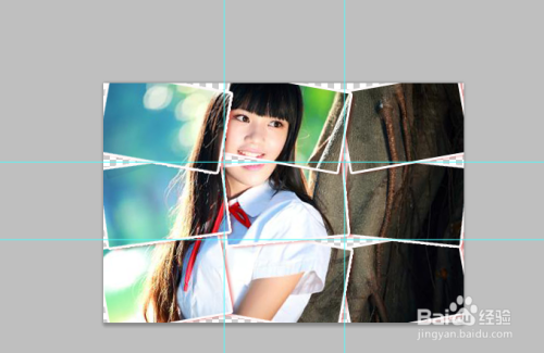 使用ps将一个图片分割成九宫格,怎么旋转?图片