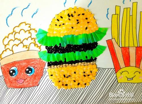 怎样用五谷杂粮做粘贴画之美味的汉堡包