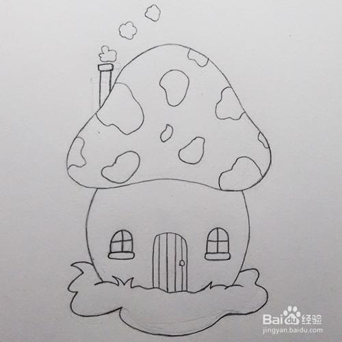 儿童简笔画教程之可爱蘑菇房子步骤图片