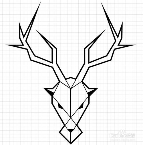 如何创建简约现代的直线鹿形logo图片