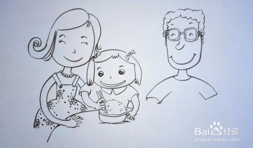 儿童趣味创意画:[16]简笔画《幸福的一家人》