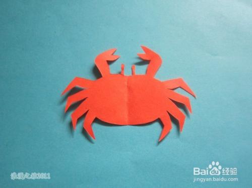 儿童趣味手工剪纸--螃蟹的折剪方法图片