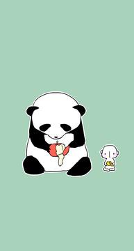 超萌熊猫壁纸来啦,一生的愿望是拍彩色照片的大熊猫你喜欢吗?熊猫卡通安卓手机壁纸下载推荐