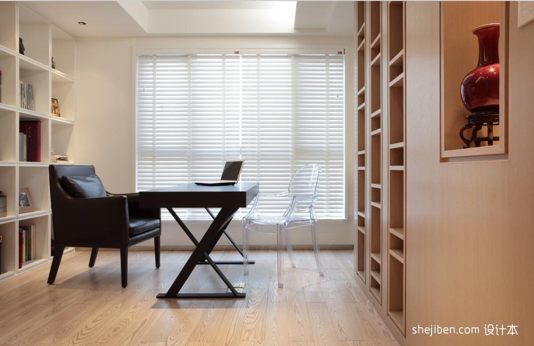 代风格三室一厅家装书房椅子电脑桌窗帘书架装修效果图欣赏 高清图片