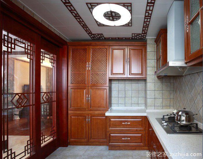 中式风格厨房整体实木橱柜效果图_装修之家装修效果图图片