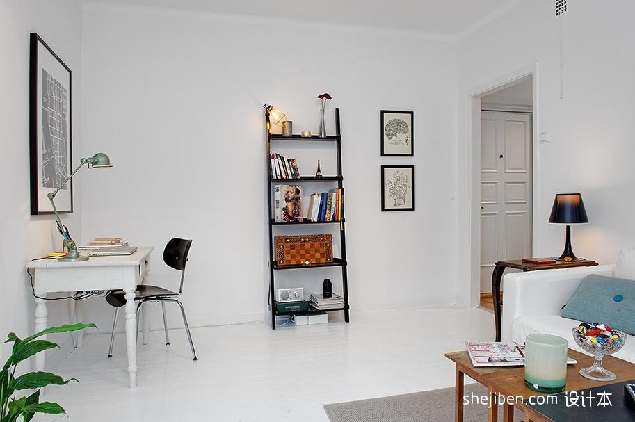 2013现代风格小户型家装书房书架椅子书桌台灯沙发装修效果高清图片