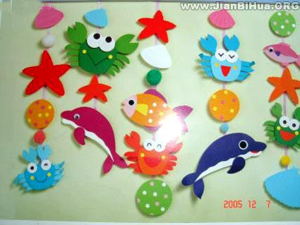 海底世界简笔画鱼类-高清下载 幼儿园新年墙饰布置 幼儿园圣诞吊饰布