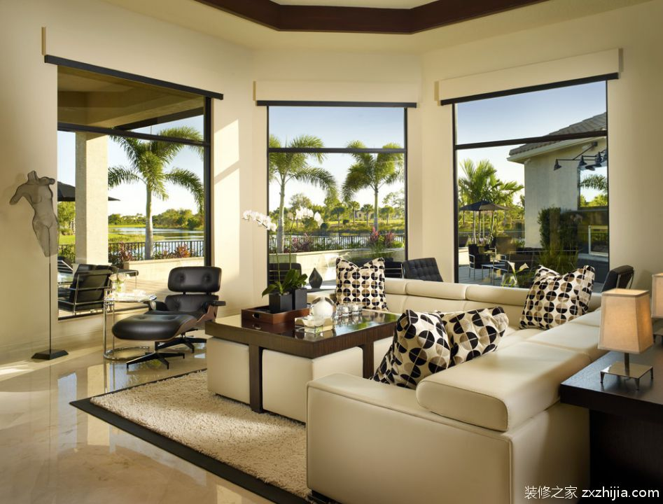 花园般的欧式风格四室两厅欧式客厅美图_装修之家装修效果图图片