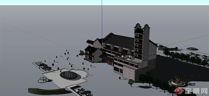 某现代中式风格徽派会所建筑su模型[原创]图片