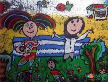 儿童画过新年的画 红红火火的新年 关于一家人的儿童画 节日蜡笔画