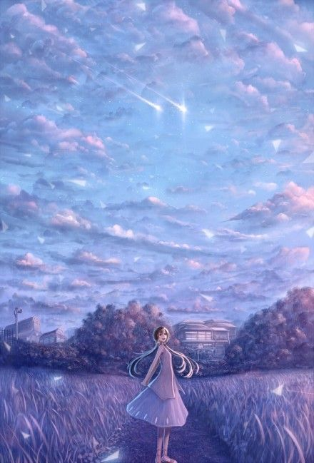漂亮插画动漫手绘天空可爱卡通竖图图片