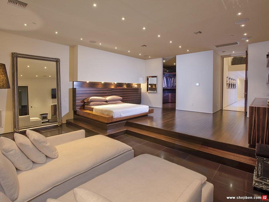 2013现代风格简单别墅不规则成人卧室吊顶床头背景墙装修高清图片