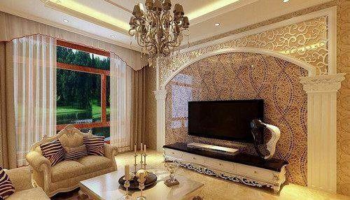 客厅电视背景墙,17不同风格的客厅背景墙设计图片