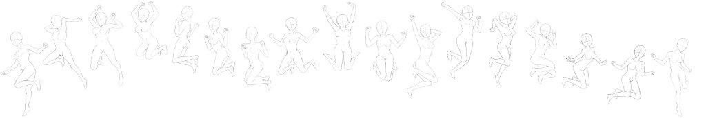 (绘画参考)动漫跳跃少女的姿势集