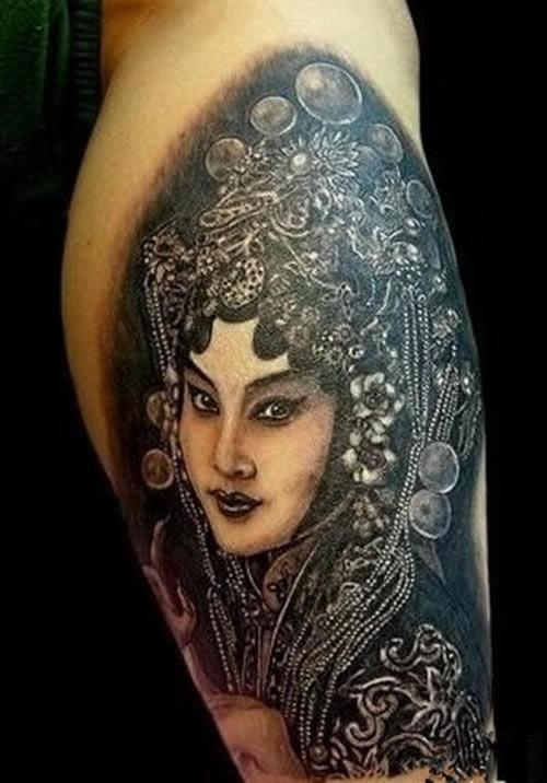 小腿花旦纹身图片 女生和男人小腿花旦纹身图案大全(10p)图片图片