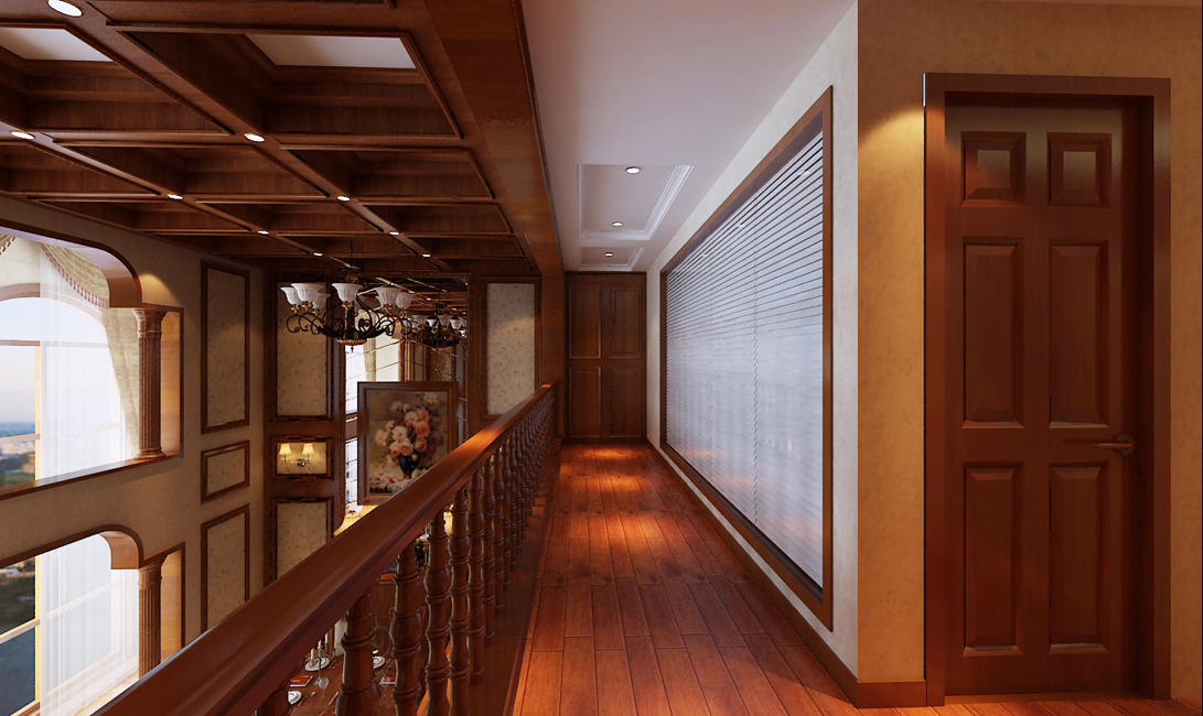 美式风格280平四室二厅别墅餐厅餐桌花瓶装修效果图