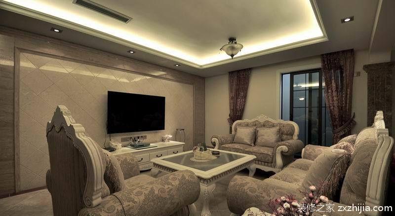 欧式二居客厅瓷砖电视背景墙效果图_装修之家装修效果图图片