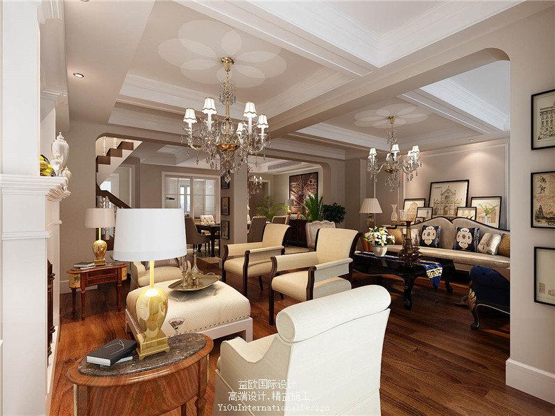 20万以上140平米以上美式别墅装修效果图,45万打造213平联排现代美式图片