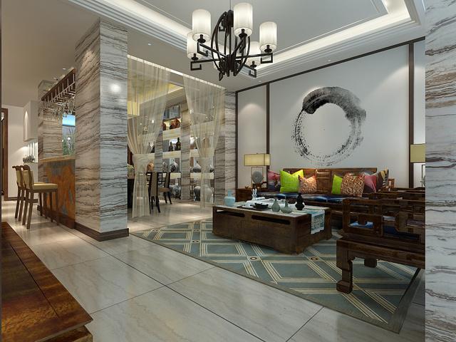 优雅欧式中式风格家装设计图片