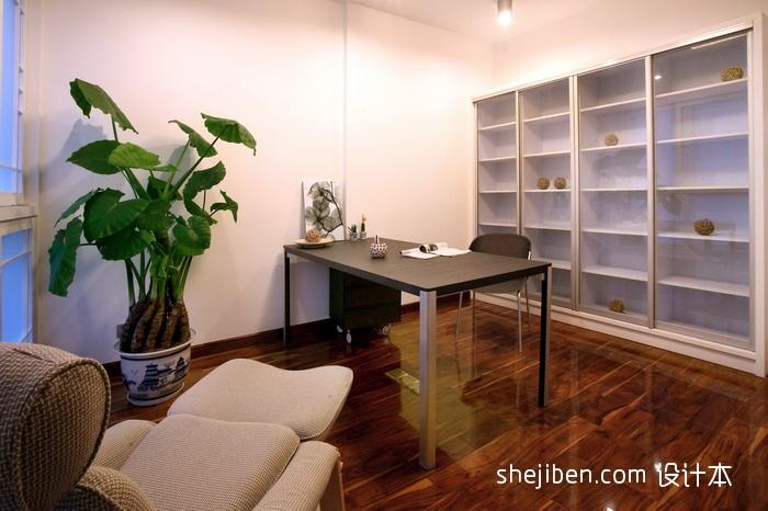 2013现代风格三室一厅最新简约书房书柜书桌沙发装修效果图 高清图片