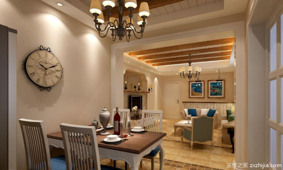 现代美式风格餐厅桌椅图片_装修之家装修效果图