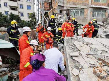 福州仓山一楼房倒塌