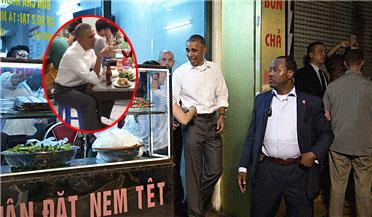 奥巴马溜到越南平民食店吃米粉
