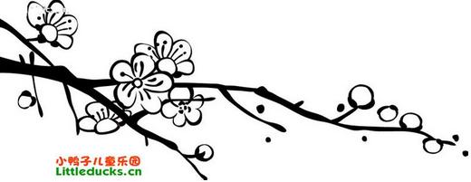 最简单的不涂色的冬天的梅花怎么画图片