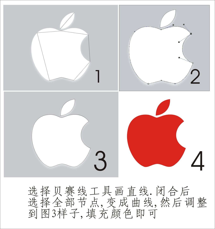 在coreldraw中,苹果的标志怎么做?苹果怎么做出来图片