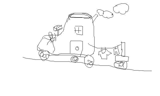 可以住人,有晾衣的地方,有窗子门轮子烟囱污水处理桶,写科幻画的创意图片