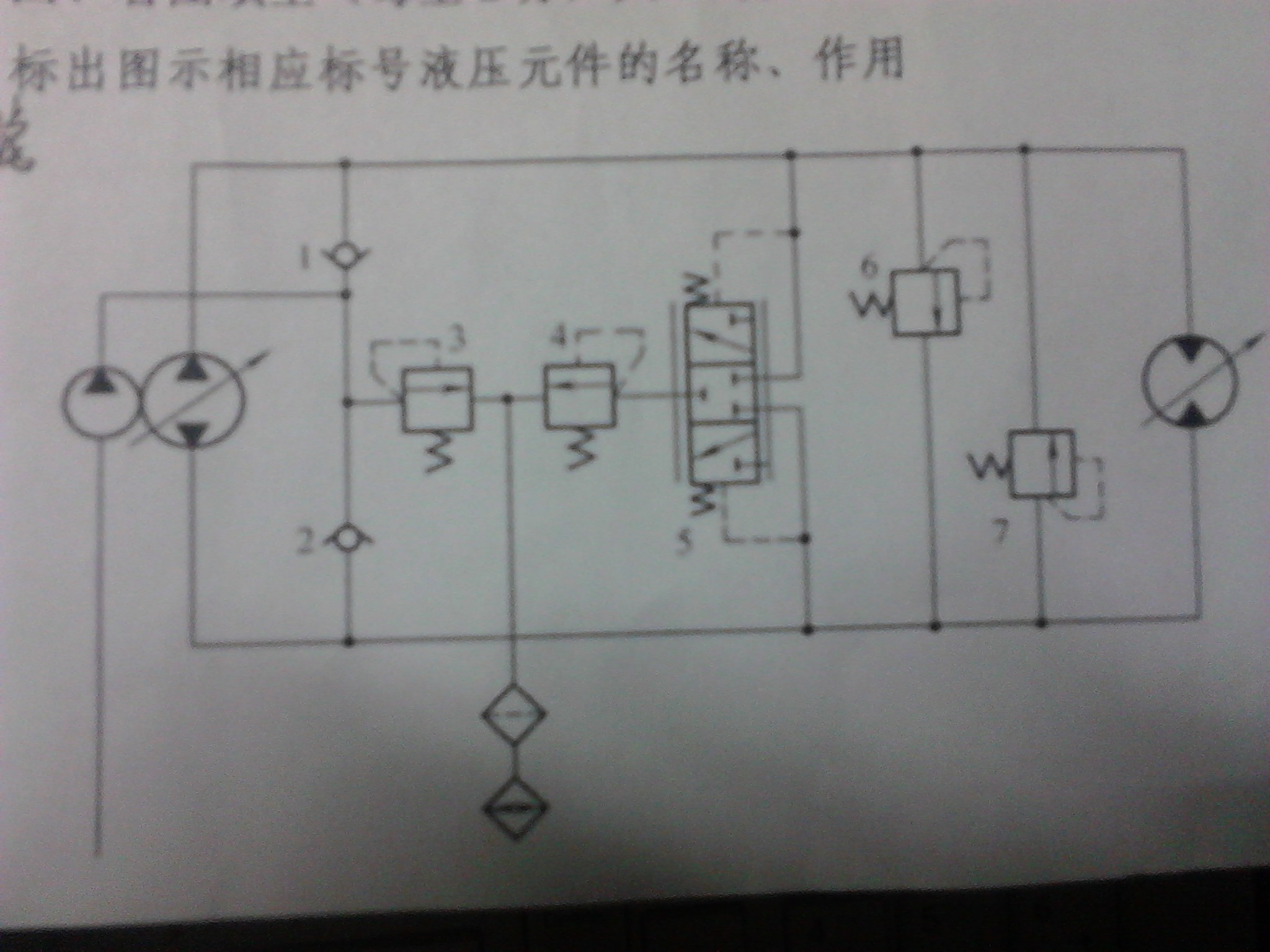 图示的油路是哪种调速回路?还有图上标出的液压元件都是什么?图片